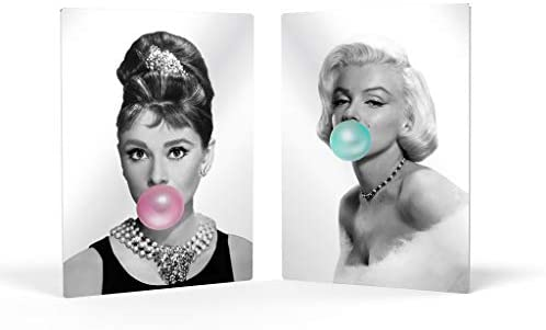 Smile Art Design Audrey Hepburn Marilyn Monroe Bubble Gum Two-Piece Set Metal Print Black White Iconic Wall Art Home Decor Living Room Bedroom Indoor Outdoor Ready to Hang 40×30 x 2 Panel inch