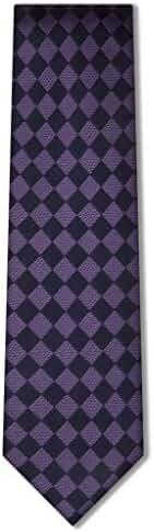 Origin Ties 3'' Skinny Silk Tie Retro Checkered Men's Classic Business Slim Necktie