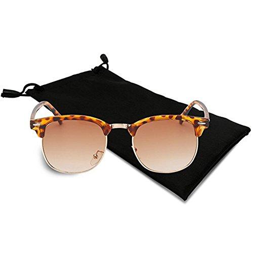 Icejazz Retro Polarized Sunglasses Half Frame Semi-Rimless Flat Glasses Unisex Clubmaster Sun glasses (Tortoise Frame|Tinted - Sunglass Hut Kids