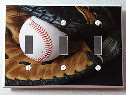 Baseball and Glove Sports Recreation 3-toggle Triple Toggle Light Switch Plate Cover
