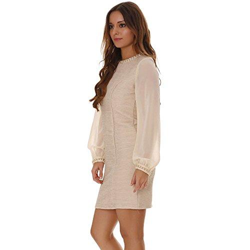 Miss Wear Line - Robe beige pailletée manches longues