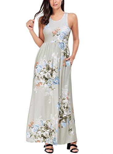 Lovezesent Women's Floral Print Round Neck Sleeveless Long Maxi Casual Dress X-Large ()