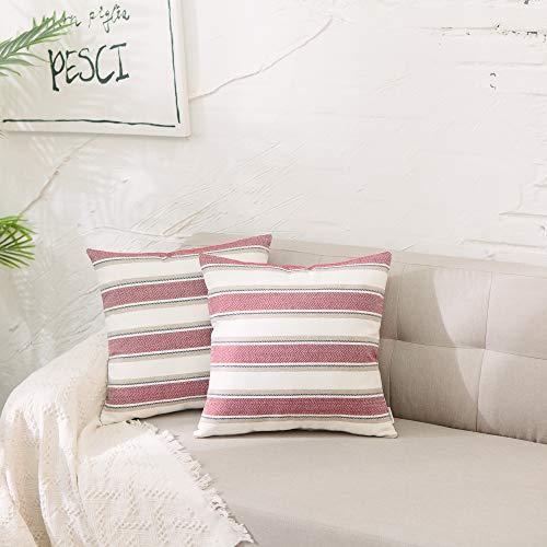 (NATUS WEAVER 2 Packs Stripe Pillow Case Soft Linen Square Decorative Throw Cushion Cover Pillowcase with Hidden Zipper for Sofa 18