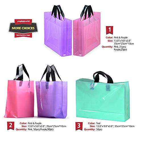 50Pcs Teal Merchandise Bags with Handles with Bottom Gusset, Yookeehome Durable Plastic Boutique Gift Bags, 25x35cm