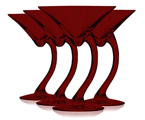 Libbey Red Curved Stem Martini Glasses 6.75 oz. set of 4 - Additional Vibrant Colors Available by TableTop (Red Martini Glasses)
