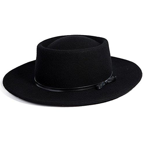b05911ab8 Jeff & Aimy Womens 100% Wool Felt Hat Winter Panama Fedora Pork Pie Church  Derby Party Hats Wide Brim Fashion Black