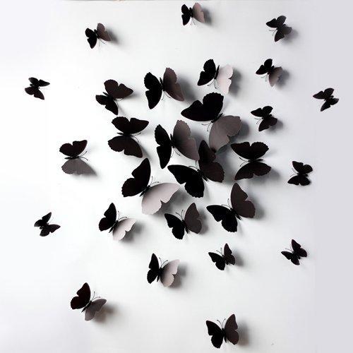 Black 24PCS 3D Butterfly Wall Stickers Decor Art Decorations 3 size (24, (3d Butterfly Wall Decor)