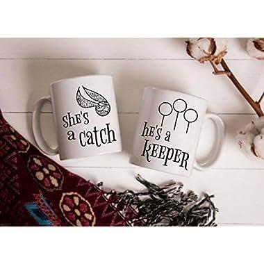 Harry Potter Inspired Mug Set | She's a Catch, He's a Keeper