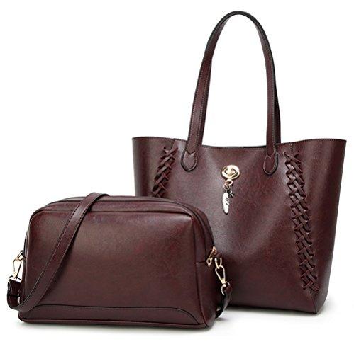 Shishang Sac Lady Mère 2018 Nouveau Messenger Marea tissage Messenger Bag grande capacité Zyxcc (Couleur: Rose) Brun foncé
