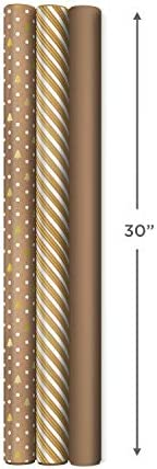 Hallmark Holiday Wrapping Paper with DIY Bow Templates on Reverse (3 Rolls: 120 sq. feet. ttl) Kraft and Gold Christmas Trees, Stripes, Solid Kraft for Christmas, Hanukkah, Weddings, Birthdays