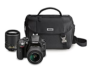 Nikon D3300 DX-format DSLR Kit w/18-55mm DX VR II & 55-200mm DX VR II Zoom Lenses and Case (Black)