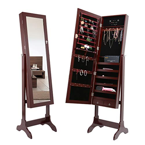 Amoiu Jewelry Cabinet Full-Length Mirror Standing Lockable Armoires Space Saving Jewelry Organizers for Jewelry Storage- Brown