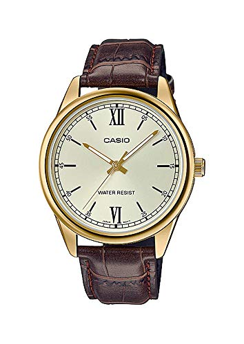 Casio MTP-V005GL-9B Men's Standard Analog Gold Tone Roman Gold Dial Leather Band Watch