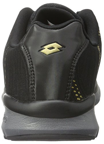 Lotto Wave Amf W, Zapatillas de Running para Mujer Negro / Amarillo (Blk / Gld Str)