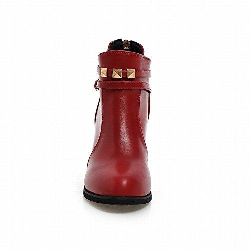 Latasa Womens Fashion Spring Fall Rivets Straps Zipper Block High-heel Ankle Boots Red di7XdA