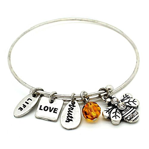 KIS-Jewelry Symbology 'Bumble Bee' Bangle Bracelet, Silver Plated - Expandable Wire Charm Bracelet Accented with Crystal Stones and One Shiny Glass Bead - Perfect Jewelry for Fashion