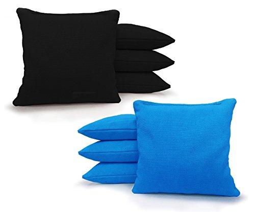 Tailgating Pros Regulation Cornhole Bags 17 Colors Handmade (Set of 8) by Johnson Enterprise, LLC (Black/Turquoise)