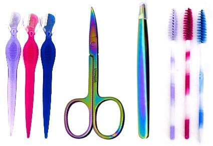 Eyebrow Tweezer & Scissors Set - 8 Pack Eye Cosmetics beauty Kit   1 Eyebrow Tweezers, 1 Scissors, 3 Eyebrow Razor Facial Hair Remover, 3 Eyelash brushes - Includes 3 Rainbow Bags Great for Gifts (For Brows Have Must Kit)