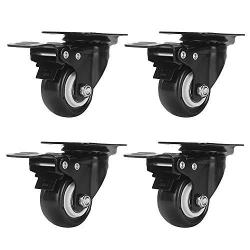 Accessbuy 2 Heavy Duty Caster Wheels PU Rubber Swivel Casters with 360 Degree Top Plate