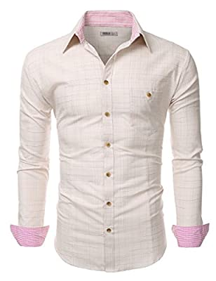 Doublju Mens Long Sleeve Slim Fit Plaid Collared Button Down Shirt