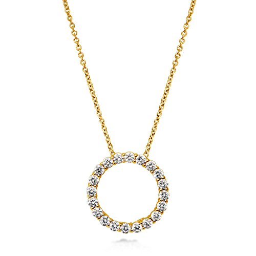 BERRICLE Yellow Gold Flashed Sterling Silver Cubic Zirconia CZ Open Circle Wedding Pendant Necklace (Pendant Circle Silver Open)