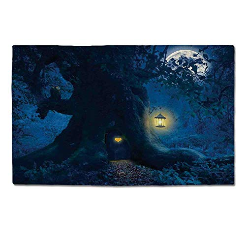 YOLIYANA Bedroom Decor Durable Door Mat,Magical Night with A Little Home in The Trunk of an Ancient Tree in The Woods for Home Office,One Size -