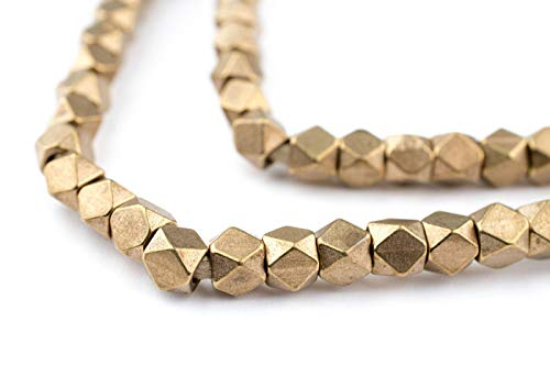 Brass Trade Beads - Cornerless Cube Beads - Full Strand of Faceted Ethnic Metal Spacers - The Bead Chest (4mm, Antiqued Brass)
