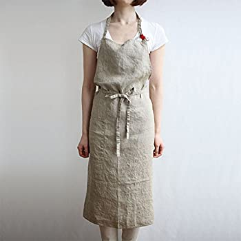 Linen Apron 4 Color, Unisex Adjustable Easy Care House Simple Long Apron Beige