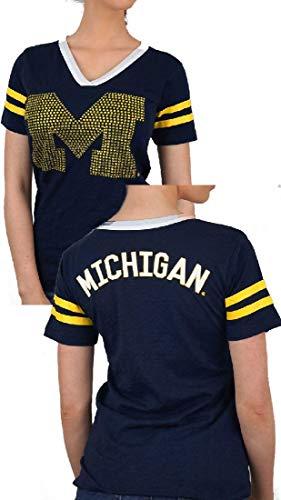 E5 Ladies Michigan Wolverines Blue 2 Sided Rhinestone Short Sleeve T Shirt - Ladies Michigan T-shirt