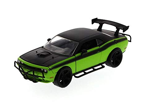 New 1:24 DISPLAY - Fast & Furious - LETTY' BLACK GREEN 2008 DODGE CHALLENGER Diecast Model Car By Jada Toys (Fast And The Furious 1 Green Car)