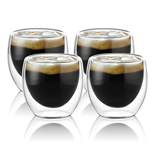 Teocera Espresso Cups Glasses - 3.5 oz Borosilicate Glass Coffee Mug, Clear And Durable Double Walled Mug Sets with Insulation, Good for Espresso Coffee, Tea, Beverage, Set of 4 -
