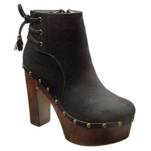 Angkorly - damen Schuhe Stiefeletten - Plateauschuhe - Hohe - Nieten - besetzt - Bommel - Franse Blockabsatz high heel 12 CM - Schwarz