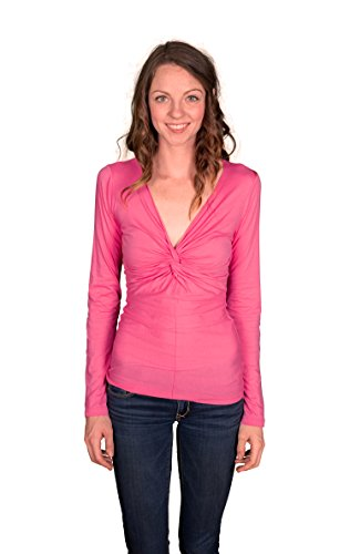 VELVET-BY-GRAHAM-SPENCER-Womens-Gauzy-Whisper-Knot-Front-Long-Sleeve-Top