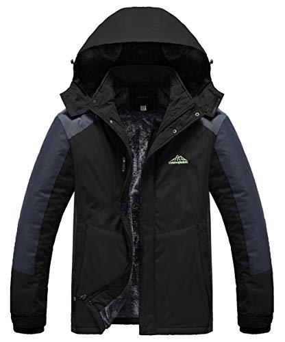 Heihuohua Men's Mountain Waterproof Ski Snowboard Jacket Windproof Fleece Lined Outdoor Hiking Coat (US XL(Asia 4XL), Darkblack)