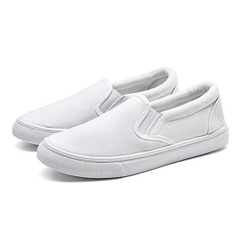 EASY21 Women Canvas Round Toe Slip on Flat Sneaker Oxford Boat Shoe,White61,Size 9
