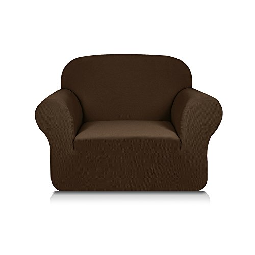 Subrtex 1-Piece Knit Jacquard Spandex Stretch Sofa Slipcovers (Chair, Coffee)