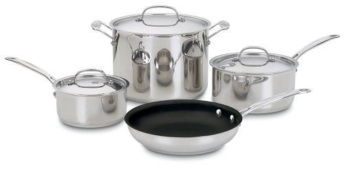 Cuisinart 77-7NS Chef's Classic Nonstick Stainless 7-Piece Cookware Set