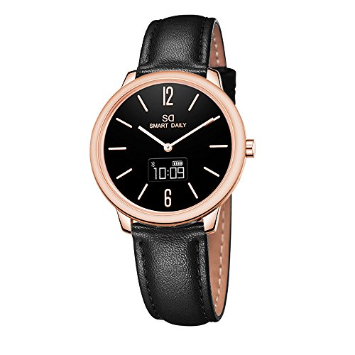 DSMART X1 Hybrid Quartz Smartwatch for Ladies and Women, with Japan Quartz Movement/Touch Screen / 30m Waterproof/Steps/ Distance/Calories for Activity Tracking (Leather Black)