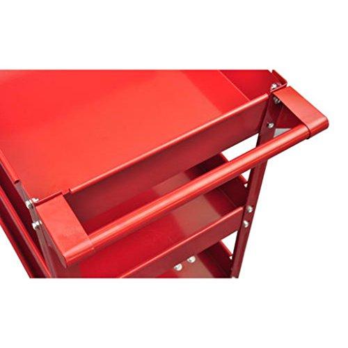 vidaXL 2X Rolling 3 Tray Utility Cart Dolly 220lbs Storage Shelves Workshop Garage Tool by vidaXL (Image #3)