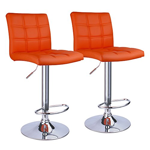 Modern Square PU Leather Adjustable Hydraulic Bar Stools with Back,Set of 2,Counter Height Swivel Stool by Leopard (Orange)