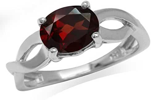 2.05ct. Natural Garnet White Gold Plated 925 Sterling Silver Solitaire Ring