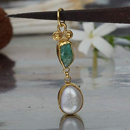 925 Sterling Silver Free Form Pearl & Raw Apatite Handmade Pendant 24k Gold Vermeil By Omer Ancient Turkish Jewelry