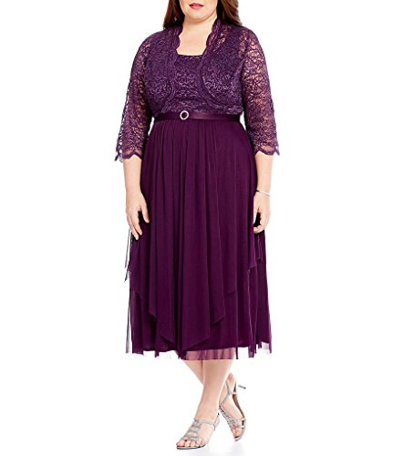 R&M Richards Women's 2 Piece Lace Hankie Collarless Jacket Dress Plus, Purple, 16W 2 Piece Bolero Jacket