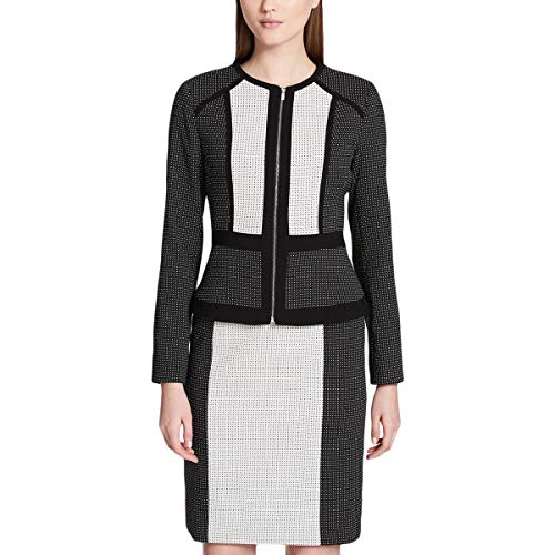Calvin Klein Womens Petites Colorblock Contrast Trim Blazer B/W 10P Black/Cream