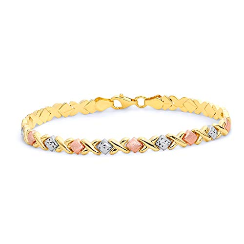 Wellingsale 14k Tri 3 Color Gold Polished Diamond Cut Stampato XOXO Bracelet - Lobster Claw Clasp - 7.25