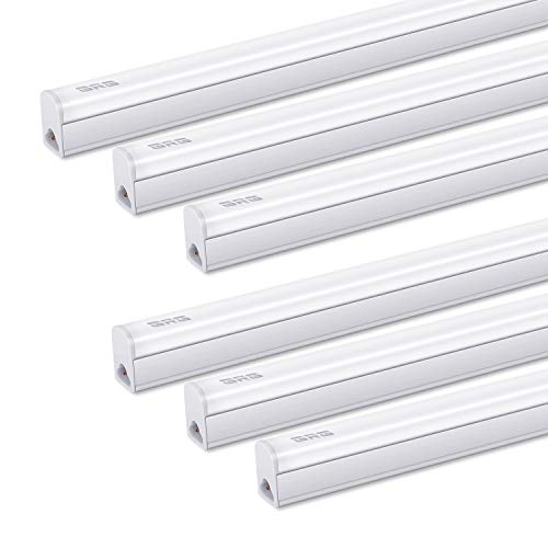 (Pack of 6) GRG Linkable LED Utility Shop Light, Garage Lights, 4Ft 20W 2200lm 6500K, T5 Integrated Single Fixture, LED Ceiling & Under Cabinet Light, T5 T8 Fluorescent Tube Light Fixture Replacement