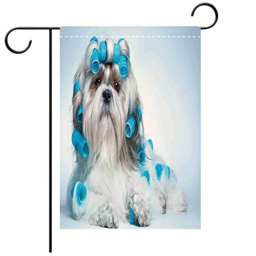 Garden Flag Double Sided Decorative Flags Dog Lover Decor Shih tzu Dog with Surlers Grooming Hairstyle Salon Front View Closeup Studio Decorative Deck, Patio, Porch, Balcony Backyard, Garden or Lawn ()