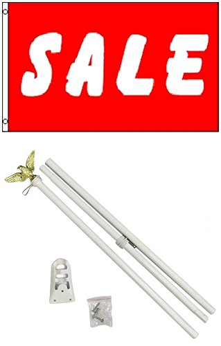 3x5 Red & White SALE Business Flag w/ 6' Outdoor Pole Kit