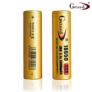 Geteed Lithium Ion 18650 Battery 3000 mAh 3.7v 40A Li-ion Rechargeable Flat Top High Rate Discharge For Flashlight Vape and High Drain Devices(2 PCS)