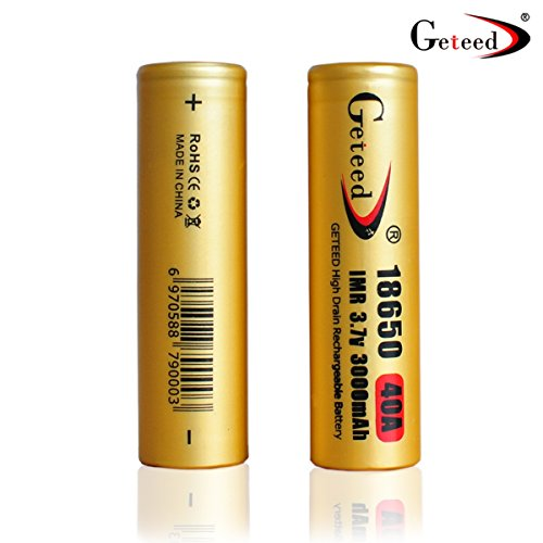 Geteed 18650 3000mah 40a 3.7v Rechargeable Flat Top Li-ion High Rate Discharge Lithium Battery